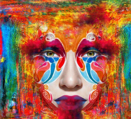 close up art woman has color face