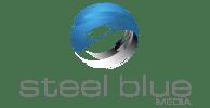 Steel Blue Media logo blue and white globe