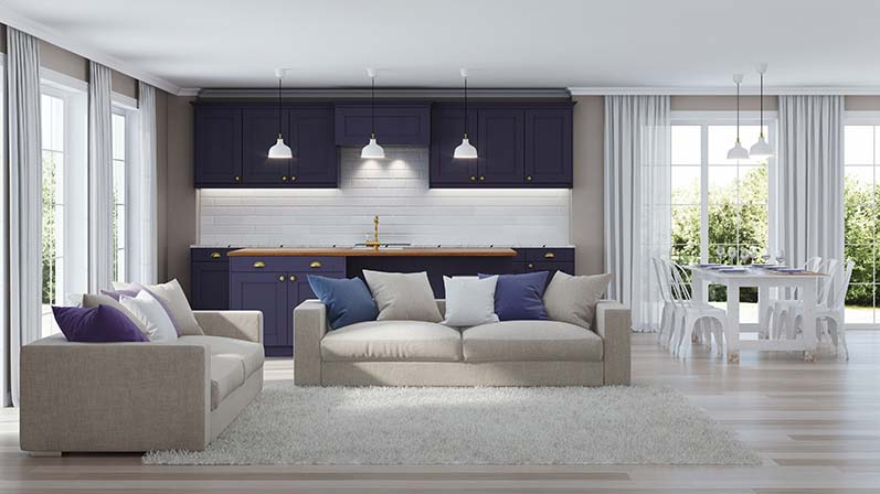 Modern interior of home in deep purple using color psychology