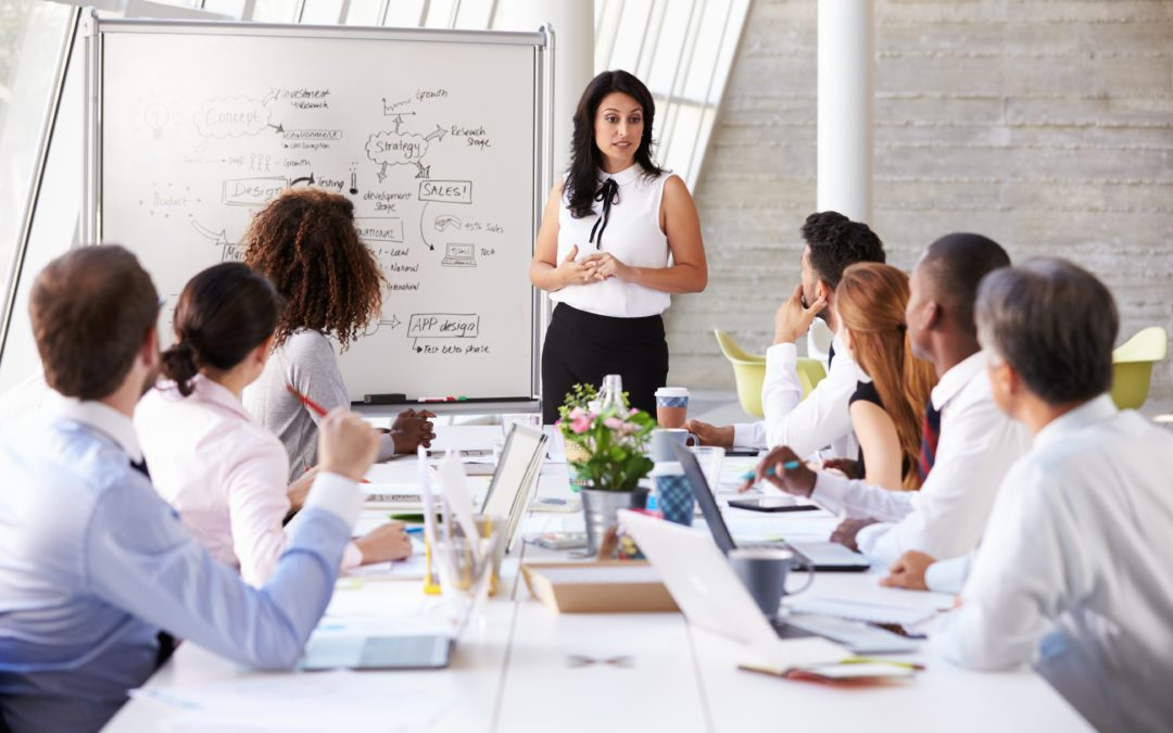 Business woman with team - ethical leadership