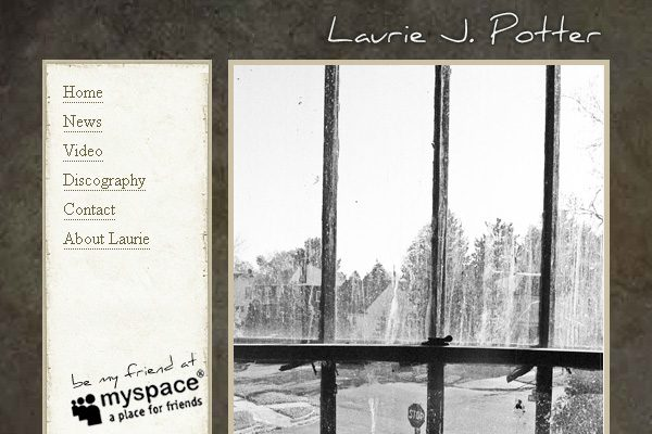Musician Laurie Potter, black and white cd cover looking through window with bars
