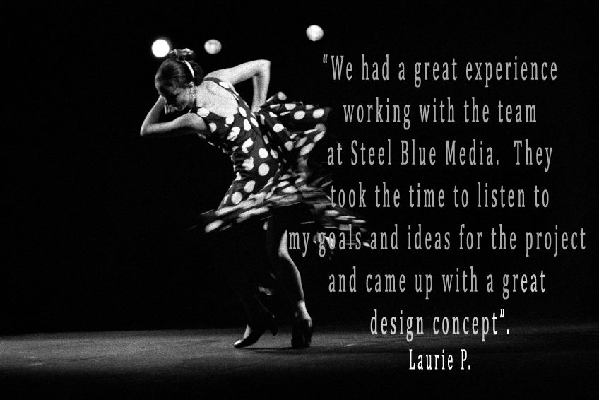 Black and white photo of woman in polka dot dress dancing, what our client's say
